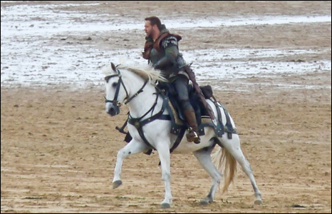 Mike Davies snapped film star Russell Crowe in action on Freshwater West beach where they are filming Robin Hood.