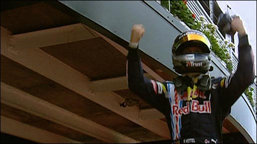 Sebastian Vettel celebrates winning at Silverstone