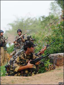 Paramilitary troops in Lalgarh