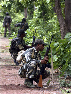 Paramilitary troops in Lalgarh