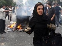 Woman amid protests, Tehran (20 June)
