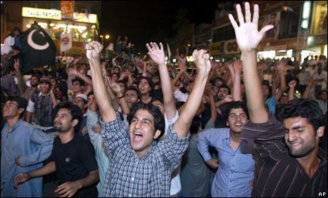 Fans celebrating Pakistan's win in Islamabad