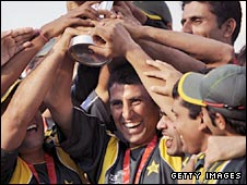 Pakistan captain Younus Khan lifts the ICC World Twenty20 trophy
