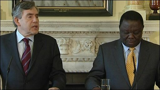 Gordon Brown and Morgan Tsvangirai.