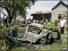 Car destroyed in bomb attack on Ingush President Yevkurov