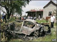 Car destroyed in bomb attack on Ingush President Yevkurov