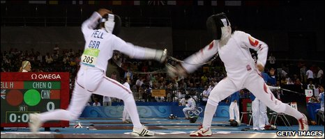 Great Britain's Heather Fell in fencing action