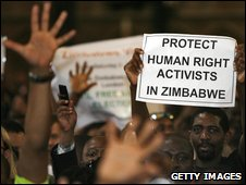 Protesters at an address in London by Morgan Tsvangirai