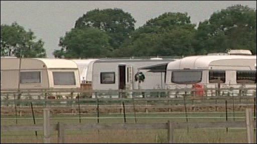 Caravans on traveller's site