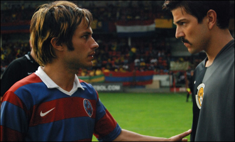 Gael Garcia Bernal and Diego Luna star as footballing brothers in Carlos Cuaron's Rudo & Cursi