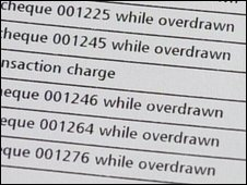 A bank statement with overdraft charges