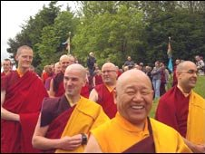 Monks emerging from Samye Dechen Shing retreat