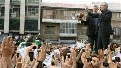Mir Hossein Mousavi at an opposition rally in Iran