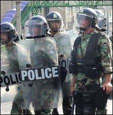 Iranian riot police in Tehran (image from 20 June)