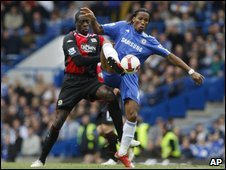 Blackburn's Christopher Samba and Chelsea's Dider Drogba