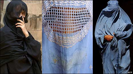 Montage of women wearing the Islamic veil