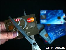 Credit cards being cut up