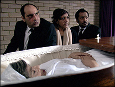 Rubin Varla, Meera Syal and Nitin Gantra with Leena Dhingra (in coffin)