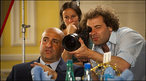 Omid Djalili (left) and director Josh Appignanesi (right) on the set of The Infidel