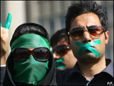 Supporters of opposition leader Mir Hossein Mousavi