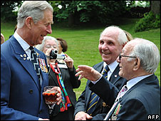 Prince Charles with D-Day veterans