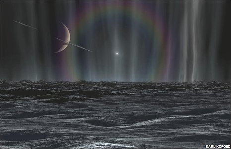 An artist's impression of a sunset on Enceladus.