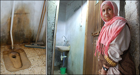 Yahya Abu Saif's mother shows the family's bathroom