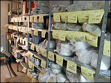 Storeroom in Gaza prosthetic limb workshop