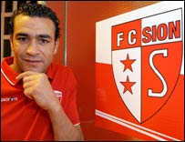 Egypt goalkeeper Essam El-Hadary with the FC Sion logo