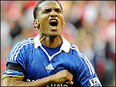 Florent Malouda celebrates his goal in the FA Cup semi-final against Arsenal