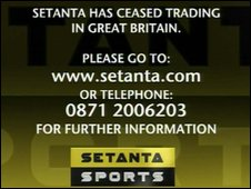 Setanta's message to customers