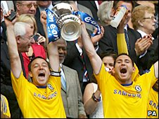 Chelsea skipper John Terry and team-mate Frank Lampard lift the FA Cup at Wembley