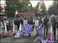 مظاهرة احتجاجية أمام السفارة البريطانية في طهران
