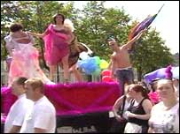 Group attending Gay Pride parade in Belfast
