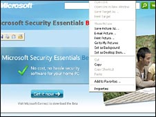Screen shot of Microsoft Security Essentials download