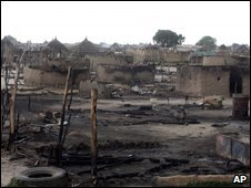 File photo from May 2008 showing Abyei village in South Sudan after clashes