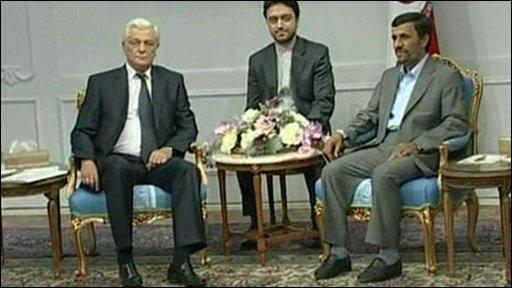 Iranian President Ahmadinejad meets a Belarussian delegation