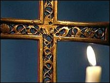 A cross and candle