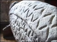 The hogsback stone, said to be a gravestone carved between 930 and 970