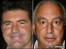 Simon Cowell (left) and Sir Philip Green