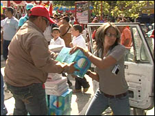 Unloading books in Venezuela