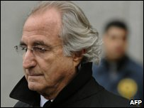 Bernard Madoff after a hearing regarding his bail in New York (file photo)