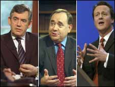 Gordon Brown, Alex Salmond, David Cameron