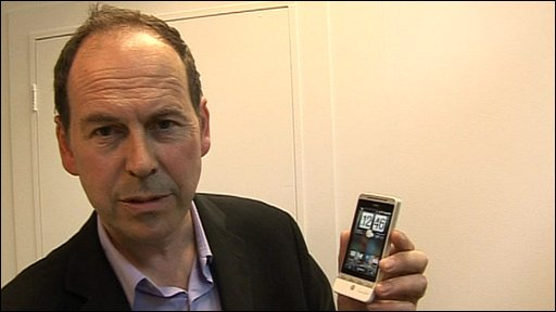 Rory Cellan-Jones with HTC phone