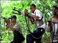 Hardline Islamic fighters in Mogadishu on 23 June 2009