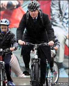 Boris Johnson on a bicycle
