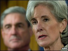 US Department of Health and Human Services Secretary Kathleen Sebelius and FBI Director Robert Mueller announce the charges, 24 June
