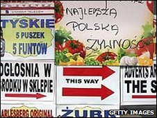 Shop adverts in Polish