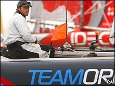 Ben Ainslie on a Team Origin boat