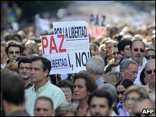 March in Bilbao to to protest against the killing of Spanish policeman Eduardo Puelles, 20 June 2009